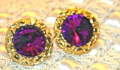 STUNNING STATEMENT  VINTAGE 1960's DAUPLAISE Large DEEP PURPLE GLASS  Earrings