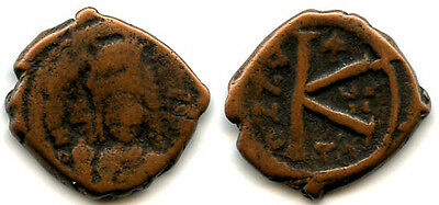 AE half follis of Maurice Tiberius (582-602 AD), Thessalonica, Byzantine Empire