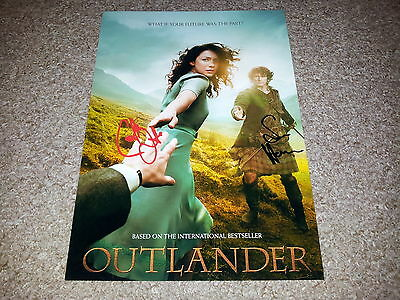 "Outlander Pp Cast X2 Signed 12""x8"" A4 Photo Poster Caitriona Balfe & Sam Heughan"