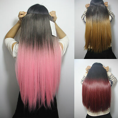 Long Straight Ombre Dip Dye Festival Hair Piece Half Head Clip In Extensions New