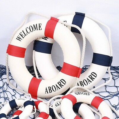 Welcome Aboard Nautical Life Lifebuoy Ring Boat Wall Hanging Home Decoration LH