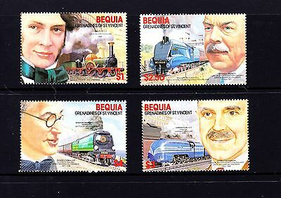 MINT Set of 4 Railway Engineers and Locomotives St Vincent Bequia Scott #237-40