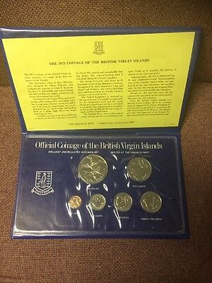 1975 Coinage Of The British Virgin Islands Proof Set, Franklin Mint, Silver