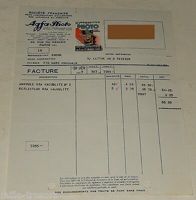 FACTURE AGFA Photo (Importation d'ALLEMAGNE) 1933 + TIMBRE EXPOSITION PHOTO