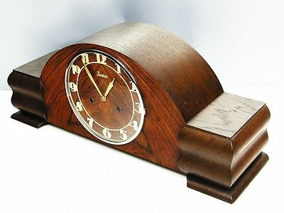A Big Pure Beautiful  Art Deco  Junghans  Chiming Mantel Clock  With Rose Wood