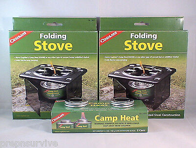 2 Folding Emergency Stove W/ 2 Cans Sterno Type Fuel Camp Heat Compact #2