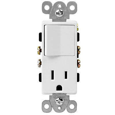 ENERLITES Decorator 15A Outlet and Single Pole Light Switch with White Cover