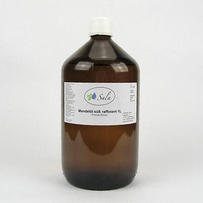 KS (12,50/L) Sala Mandelöl süß Massageöl raffiniert Ph. Eur. 1 L 1000 ml Glasfl.