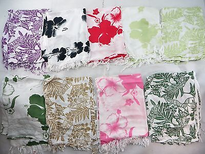 *US SELLER*Lot of 5 aloha sarong florals plumier hibiscus palm leaf shawl...