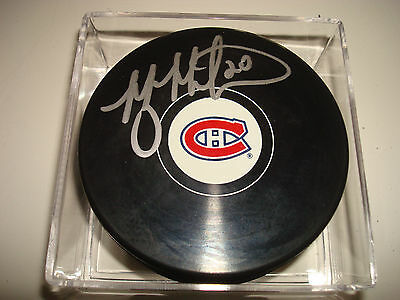 Manny Malhotra Signed Montreal Canadiens Hockey Puck Autographed 1B