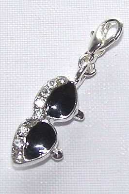 ~ SUNGLASSES  Clip On Charm sterling Silver plated fit Bracelet