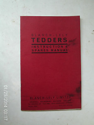 Blanch-Lely Tedders Instruction And Spares Manual 28 Pages