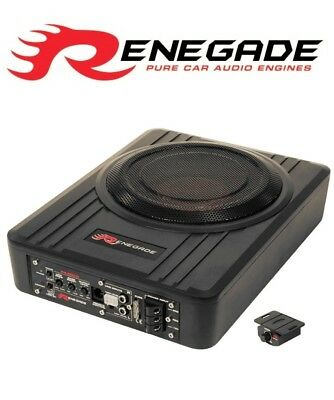 """8"""" Active Amp Amplified Under Seat Slim Shallow Sub Subwoofer  Bass Box Remote"""