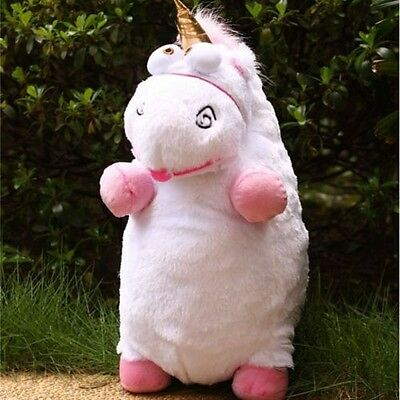"New 16"" inch Despicable Me Fluffy Unicorn White Soft Plush Doll Fluffy Toy Gift"