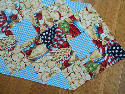 As American as Apple Pie Blue Gingham Country Primitive  Table Topper Runner