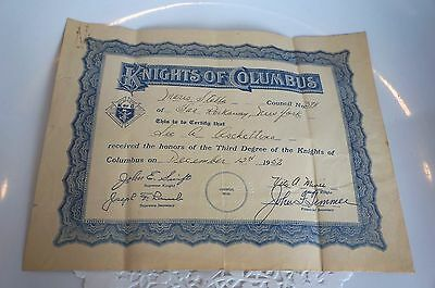 1952 Knights Of Columbus Honorary Certificate: Third Degree Of Knights
