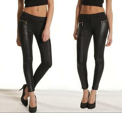 Women Leather Look Panel Leggings Jeggings Zip Stretch Trousers Black