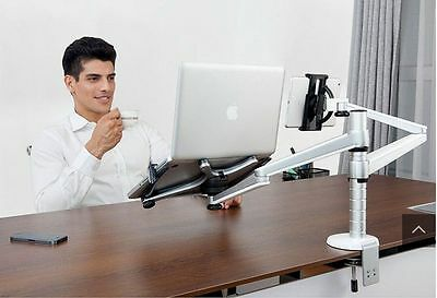 360º rotate height adjust laptop/ipad Pro/tablet desk/bed hold/mount+double arm