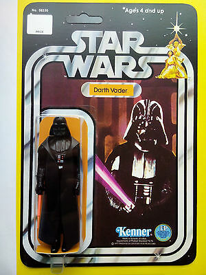 VINTAGE 1977 DARTH VADER  MADE BY KENNER TOYS ON HIS STAR WARS 12 BACK CARDBACK