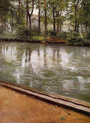 Oil painting Caillebotte, Gustave - The Yerres, Rain summer river landscape