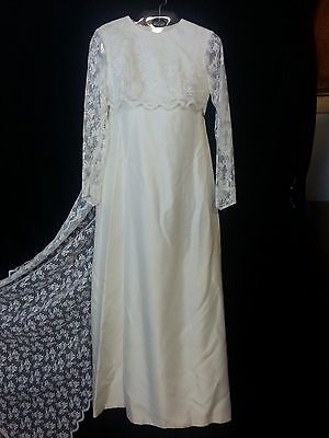 Vtg 60s Lorrie Deb Wedding Dress Gown Ivory Empire Waist Lace Top Slev Train PS5