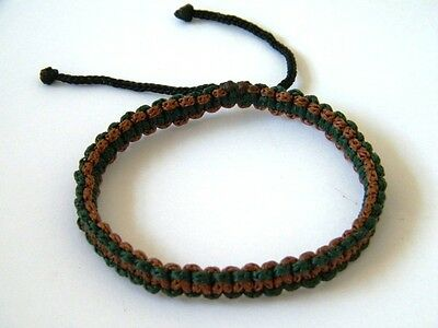 Authentic Thai Blessed Buddhist Wristband Fair Trade Wristwear Green & Brown