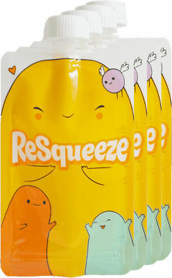 Resqueeze Baby Food Pouch 6 Oz - 4 Pack [perfect for smoothies]