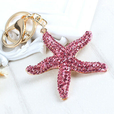 Starfish Five Asteroid Fish Rhinestone Crystal Purse Bag Key Chain Creative Gift