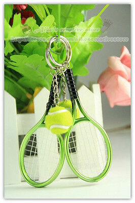 Amusing Sports Mini Green Tennis Racket & Tennis ball Model Key Ring Keychain