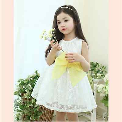 Baby Girls Princess Summer Lace With Big Bow Sleeveless Wedding Party Dresses