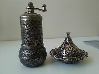 Coat of Arms of Ottoman Empire Patterned Pepper and Spice Mill with Container