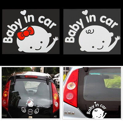 """""""Baby In Car"""" Cute Waving Baby on Board Safety Sign Car Sticker Decal 162*130mm"""