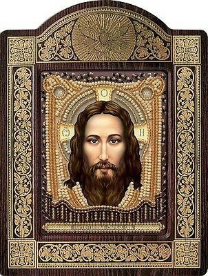 Holy Savior Religious Picture DIY Kit Icon Beaded Embroidery New.