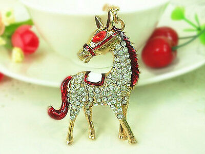 TR009 T Horse Steed Keyring Cute Rhinestone Crystal Charm Pendant Key Bag Chain
