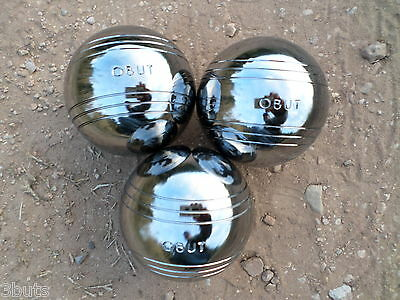Obut Classic Shiny 3 PETANQUE BOULES SET 74mm STEEL METAL BALLS FRENCH BOWLS