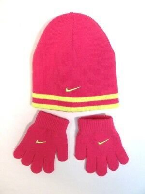 Nike Swoosh Pink & Yellow Knit Beanie & Knit Stretch Gloves Youth Girls 7-16 NWT
