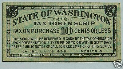 STATE OF WASHINGTON 1935 1/5 Cent Tax Token Scrip Series B Mini Banknotes