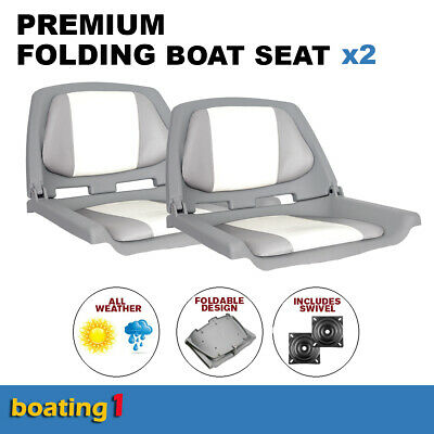 2 Premium Folding Boat Seats Marine All Weather Grey/White With Swivels
