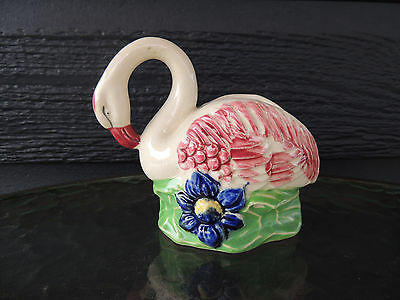 Swan Vase with Blue Flower   Made in Japan