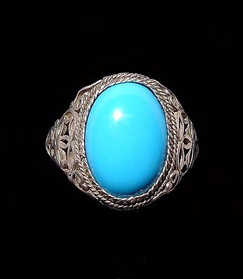 CHINA (Cina Chine): Old and fine Chinese silver filigree ring with turquoise