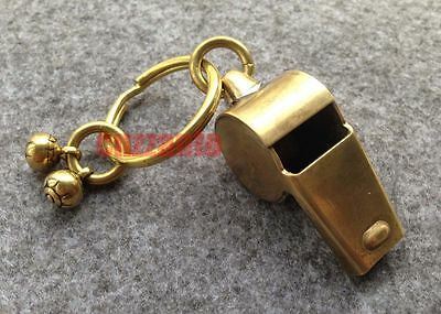 Bodiness Solid Brass EDC Vintage Outdoor Key Chain Ring pendant whistle Z5401