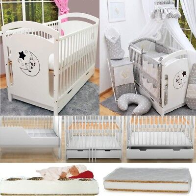 Adam Baby Cot With Drawer + 13-Pcs Embroidery Bedding + Mattress + Barrier