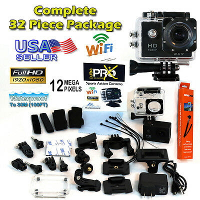 Wi-Fi Full HD 1080P Sports Action Camera 8 Includes GoPro accessory kit hero 4