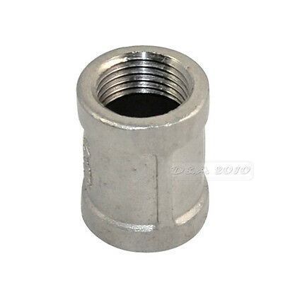 "1/2"" x 1/2"" Female Couple Stainless Steel 304 Threaded Pipe Fitting NPT NEW"