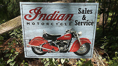 Indian Motorcycle Sales And Service Tin Advertising Wall Decor Garage Shop Sign