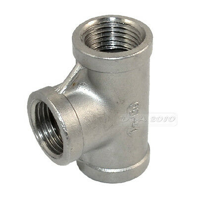 "1/2"" Tee 3 way Female Stainless Steel 304 Threaded Pipe Fitting NPT Hot"