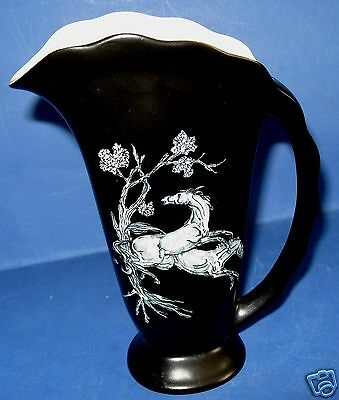 Crown Devon Fieldings Pegasus Jug Decorated with Inlay Marbled Horses Scene
