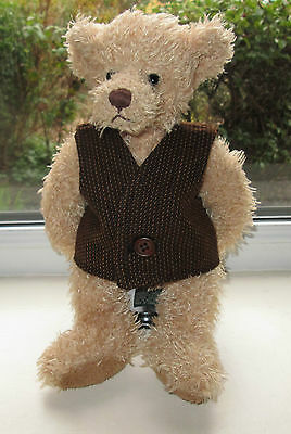 BN TEDDY CLOTHES, HANDMADE BROWN LINED WAISTCOAT TO FIT AN 11 INCH BEAR