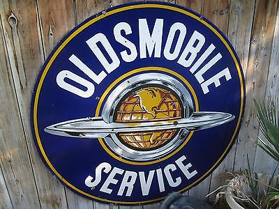 "1950's Original OLDSMOBILE SERVICE Double Sided 60"" Porcelain Advertising Sign"