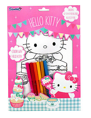 "HELLO KITTY Mal-Set 18tlg ""TEA PARTY"" 12 Poster DIN A4 & 6 Fasermaler COOL malen"